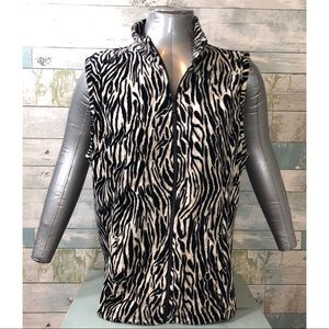 Weekends by Chico's Zip Up Zebra Vest Size 2 L12